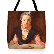 Lady In A Pink Silk Dress Tote Bag