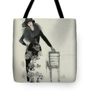 Lady In Black With Flowers Tote Bag by Susan Adams