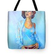 Lady In Blue II Tote Bag