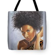 Lady In Leopard Tote Bag