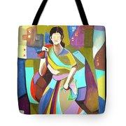 Lady In Mosaic Tote Bag