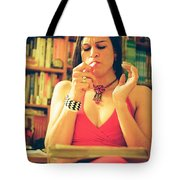 Lady In Read Tote Bag