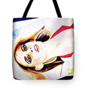 Lady In Red Framed Watercolour Painting Tote Bag