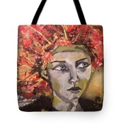Lady In Red Headdress Tote Bag