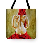 Lady In Red Three Tote Bag