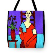 Lady In Red With Fan Tote Bag