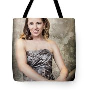 Lady In Silver Tote Bag