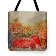 Lady In The Leaves 1 Tote Bag