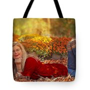 Lady In The Leaves Tote Bag