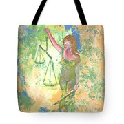 Lady Justice And The Man Tote Bag