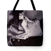 Lady Justice  Black And White Tote Bag
