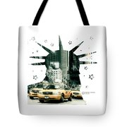 Lady Liberty And The Yellow Cabs Tote Bag