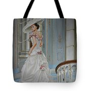 Lady On The Staircase Tote Bag