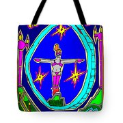 Lady Over A Valley In Paradise Tote Bag