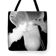 Lady Slipper Orchid Black And White Tote Bag