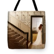 Lady Standing In A Doorway Tote Bag