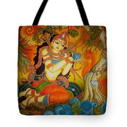 Lady With A Lotus Tote Bag