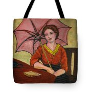 Lady With An Umbrella Tote Bag
