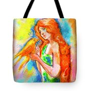 Lady With Canary Tote Bag