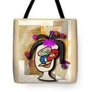 Lady With Flowers In Her Hair Tote Bag