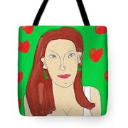 Lady With Green Earrings. Tote Bag
