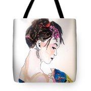 Lady With Kimono Tote Bag