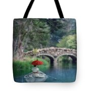 Lady With Parasol In Boat Tote Bag