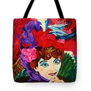 Lady With The Red Hat Tote Bag