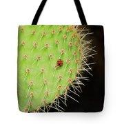 Ladybug On Cactus Tote Bag
