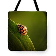 Ladybug  On Green Leaf Tote Bag