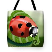 Ladybug On Leaf Tote Bag