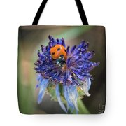 Ladybug On Purple Flower Tote Bag