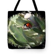 Ladybug On Sage With Swirly Framing Tote Bag