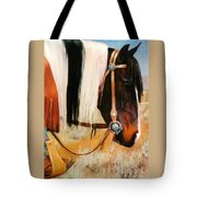 Ladys Jewels Horse Painting Portrait Tote Bag