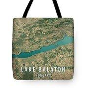 Lake Balaton 3d Render Satellite View Topographic Map Horizontal Tote Bag