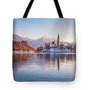 Lake Bled Winter Sunrise Tote Bag