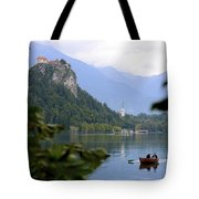 Lake Bled With Row Boat Tote Bag