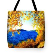 Lake Coeur D'alene Through Golden Leaves Tote Bag