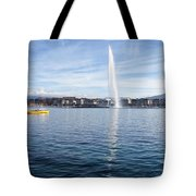 Lake Geneva Switzerland With Water Fountain And Water Taxi On A  Tote Bag