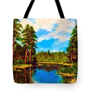 Lake In The Forest  Tote Bag