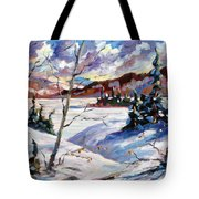 Lake In Winter Tote Bag