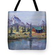 Lake Jenny Cabin Grand Tetons Tote Bag