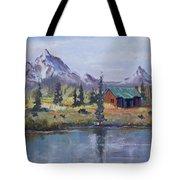 Lake Jenny Cabin Grand Tetons Tote Bag
