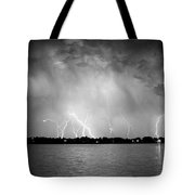 Lake Lightning Bw Tote Bag