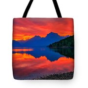 Lake Mcdonald Fiery Sunrise Tote Bag