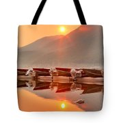 Lake Mcdonald Fiery Sunset Tote Bag