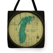 Lake Michigan Map Tote Bag