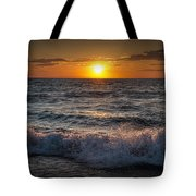 Lake Michigan Sunset With Crashing Shore Waves Tote Bag