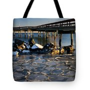 Lake Ontario Sunset At Toronto Center Island Pier In Winter With Tote Bag