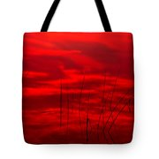 Lake Reeds And Red Sunset Tote Bag